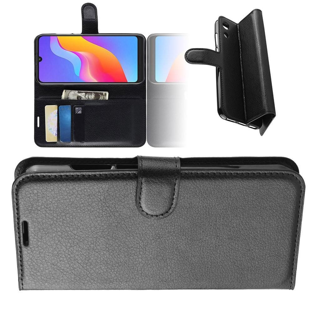Флип чехол книжка с кошельком подставкой отделениями для карт и магнитной застежкой для Huawei Honor 8A Черный