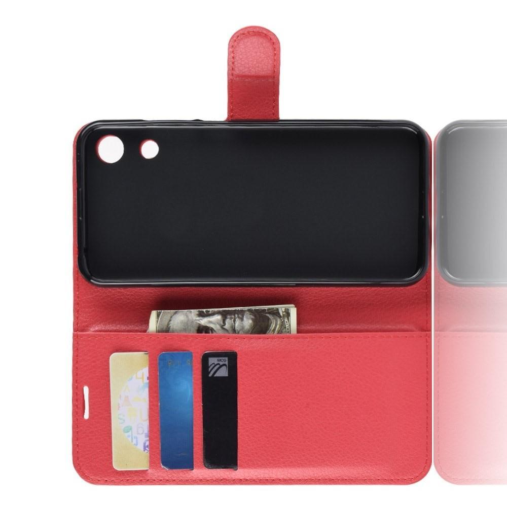 Флип чехол книжка с кошельком подставкой отделениями для карт и магнитной застежкой для Huawei Honor 8A Красный