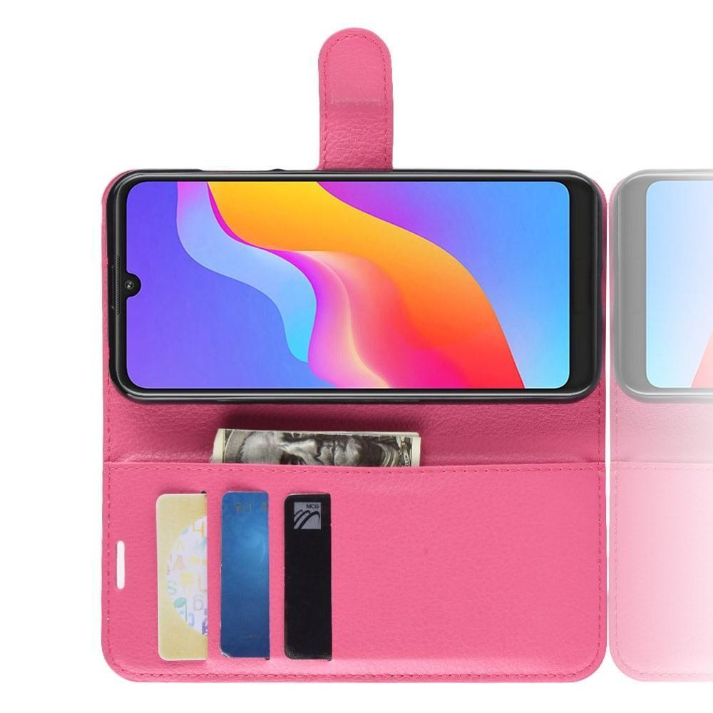 Флип чехол книжка с кошельком подставкой отделениями для карт и магнитной застежкой для Huawei Honor 8A Розовый