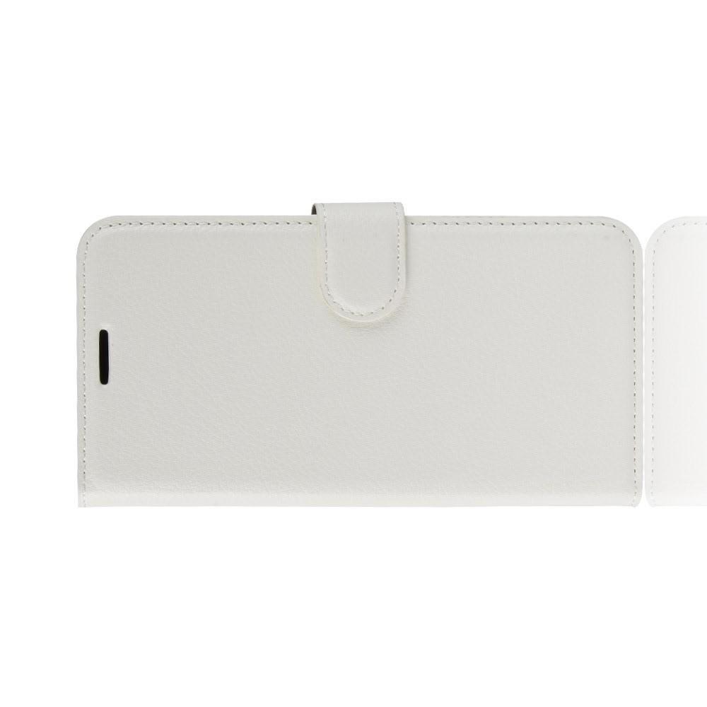 Флип чехол книжка с кошельком подставкой отделениями для карт и магнитной застежкой для Huawei Honor 8C Белый