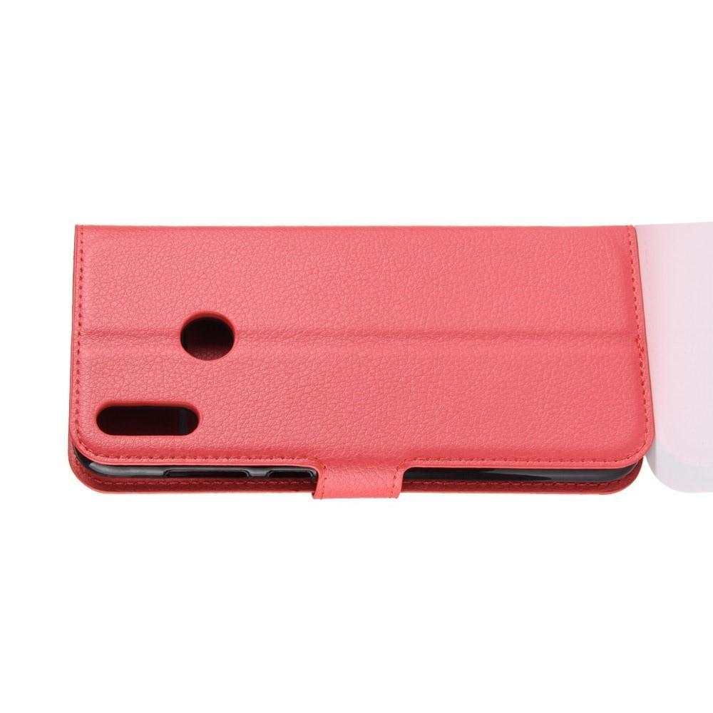 Флип чехол книжка с кошельком подставкой отделениями для карт и магнитной застежкой для Huawei Honor 8C Красный