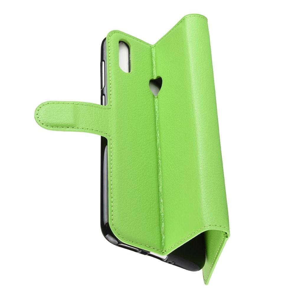 Флип чехол книжка с кошельком подставкой отделениями для карт и магнитной застежкой для Huawei Honor 8C Зеленый