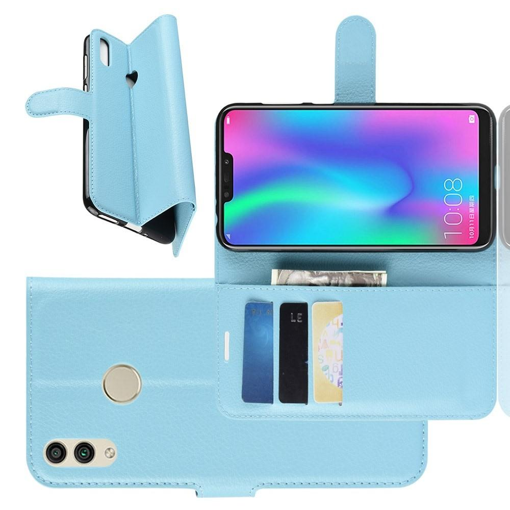 Флип чехол книжка с кошельком подставкой отделениями для карт и магнитной застежкой для Huawei Honor 8C Голубой
