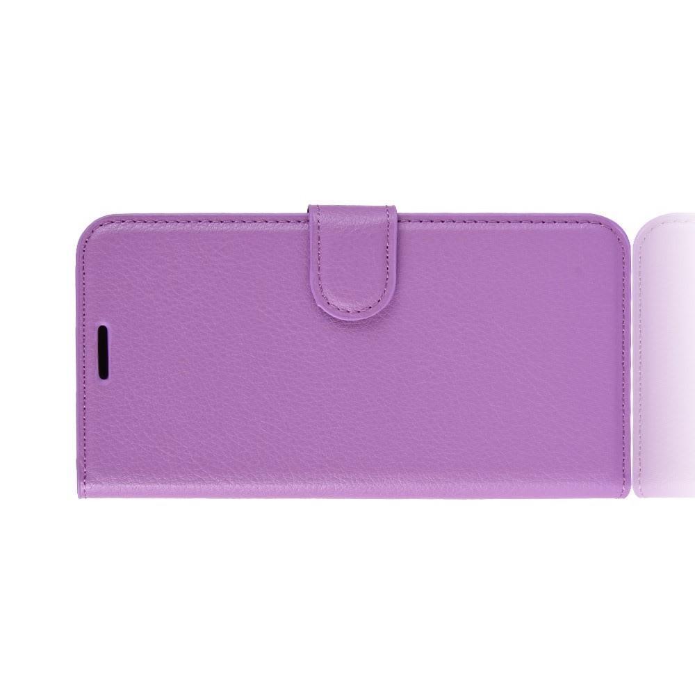 Флип чехол книжка с кошельком подставкой отделениями для карт и магнитной застежкой для Huawei Honor 8C Фиолетовый