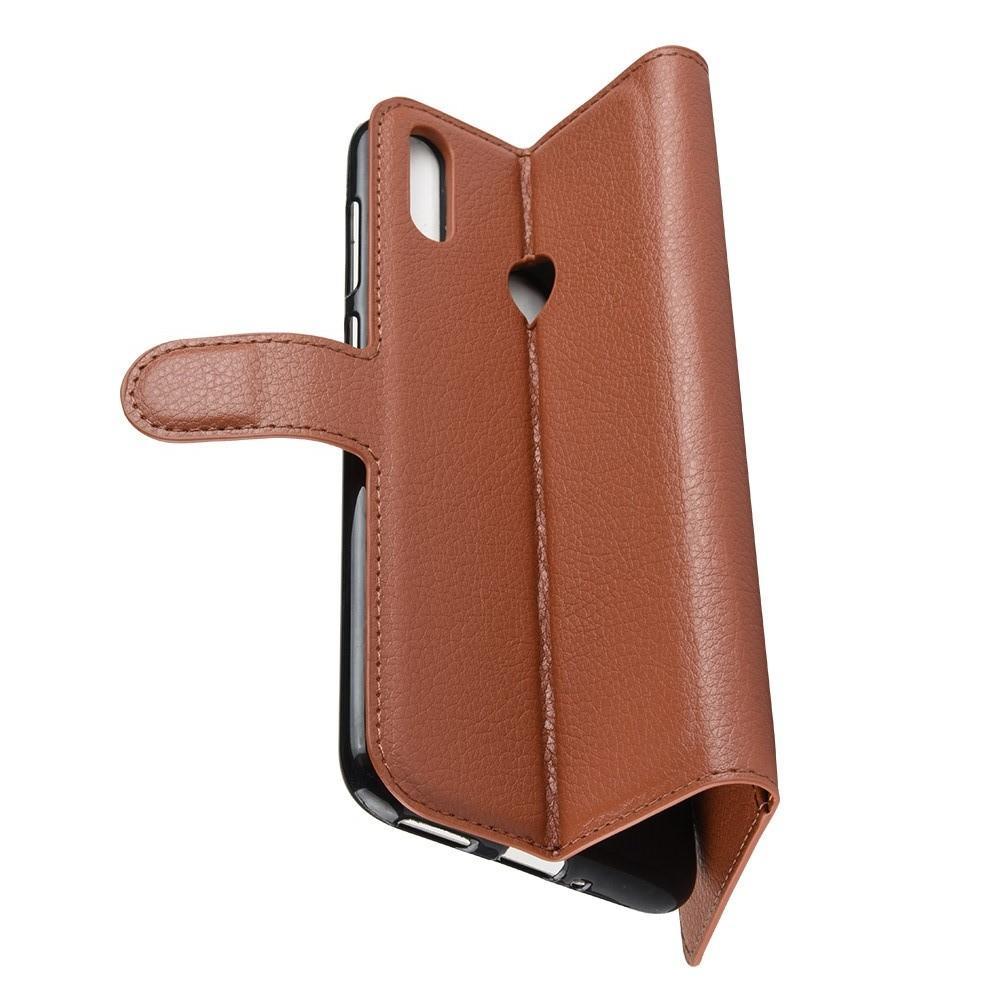 Флип чехол книжка с кошельком подставкой отделениями для карт и магнитной застежкой для Huawei Honor 8C Коричневый