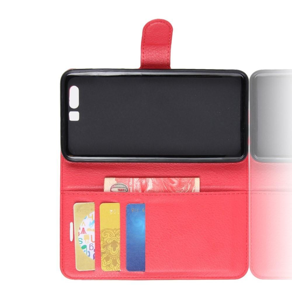 Флип чехол книжка с кошельком подставкой отделениями для карт и магнитной застежкой для Huawei Honor 9 Красный