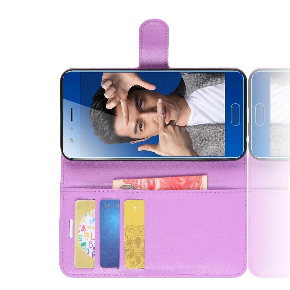 Флип чехол книжка с кошельком подставкой отделениями для карт и магнитной застежкой для Huawei Honor 9 Фиолетовый