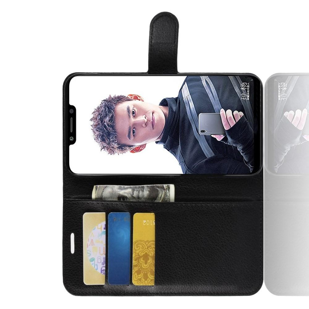 Флип чехол книжка с кошельком подставкой отделениями для карт и магнитной застежкой для Huawei Honor Play Черный