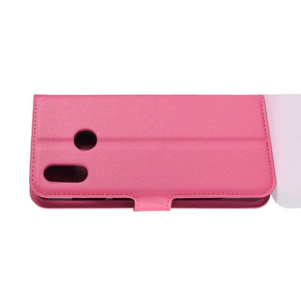 Флип чехол книжка с кошельком подставкой отделениями для карт и магнитной застежкой для Huawei Honor Play Розовый
