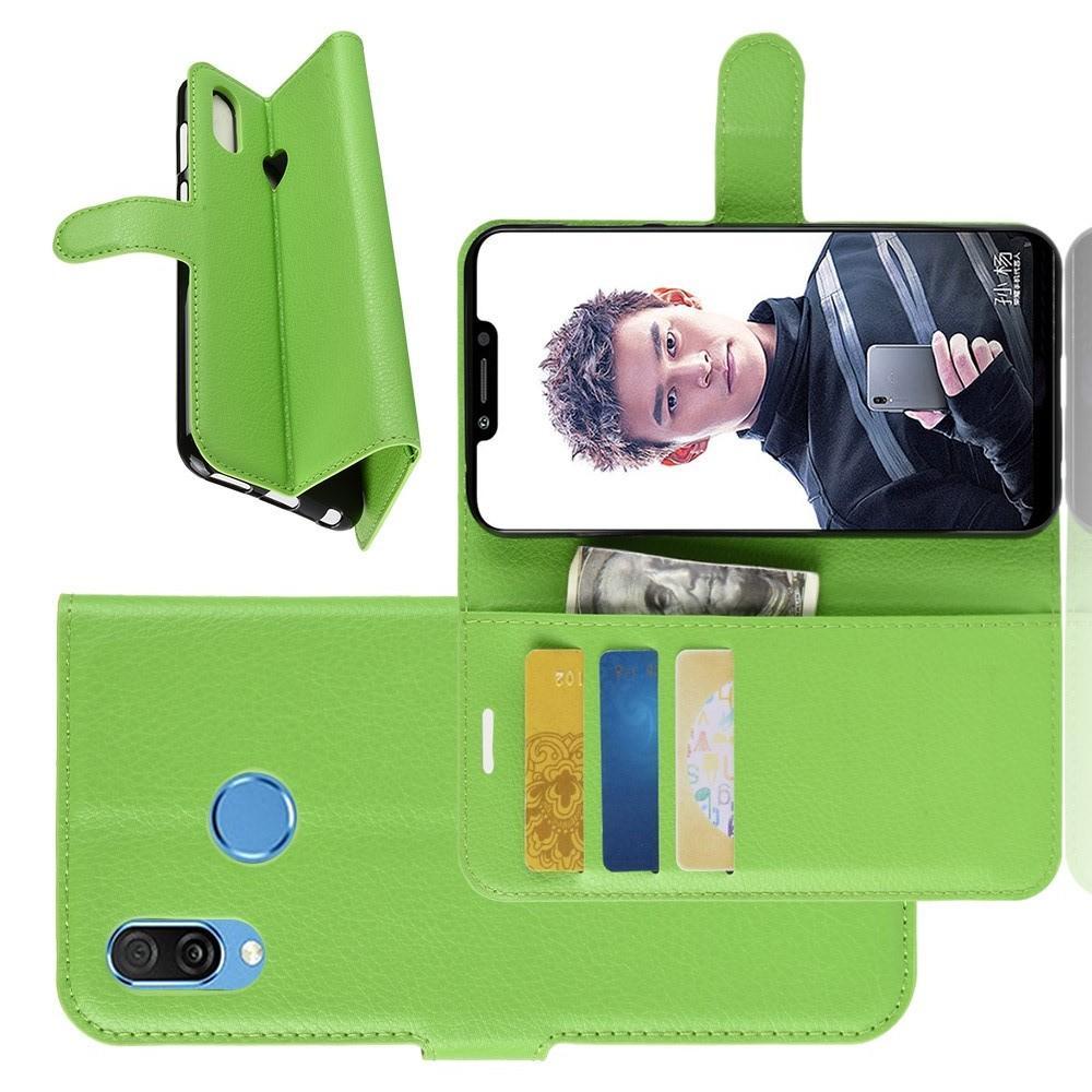 Флип чехол книжка с кошельком подставкой отделениями для карт и магнитной застежкой для Huawei Honor Play Зеленый