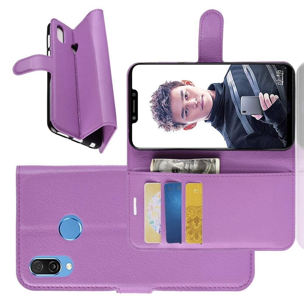 Флип чехол книжка с кошельком подставкой отделениями для карт и магнитной застежкой для Huawei Honor Play Фиолетовый