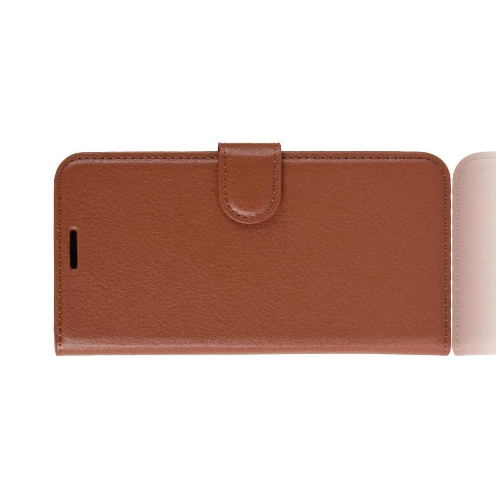 Флип чехол книжка с кошельком подставкой отделениями для карт и магнитной застежкой для Huawei Honor Play Коричневый