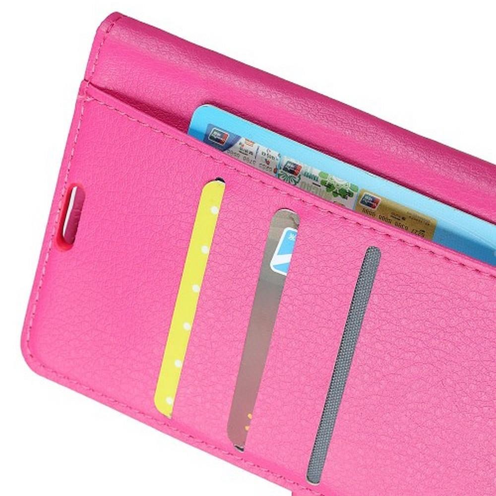 Флип чехол книжка с кошельком подставкой отделениями для карт и магнитной застежкой для Huawei Honor View 20 (V20) Розовый