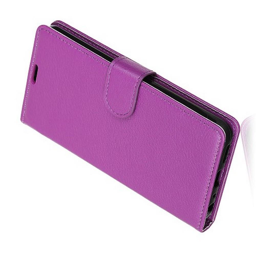 Флип чехол книжка с кошельком подставкой отделениями для карт и магнитной застежкой для Huawei Honor View 20 (V20) Фиолетовый