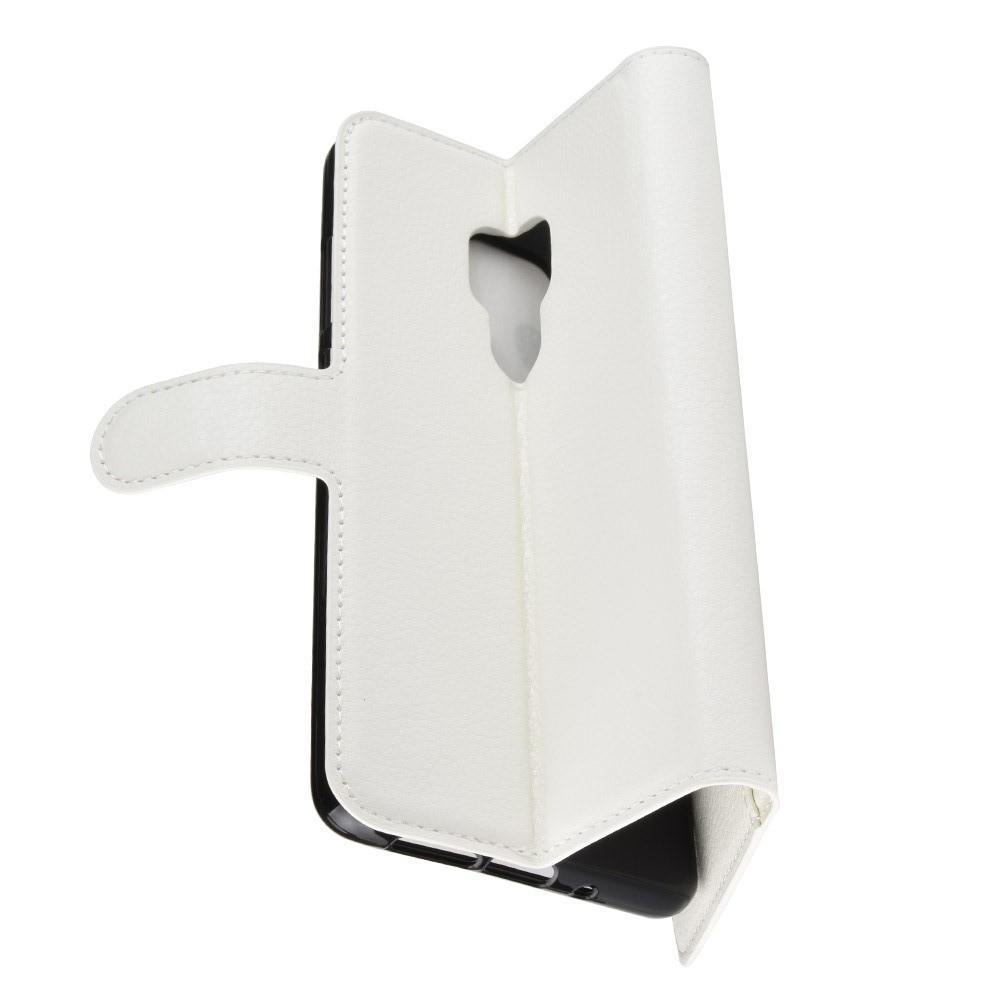Флип чехол книжка с кошельком подставкой отделениями для карт и магнитной застежкой для Huawei Mate 20 Белый