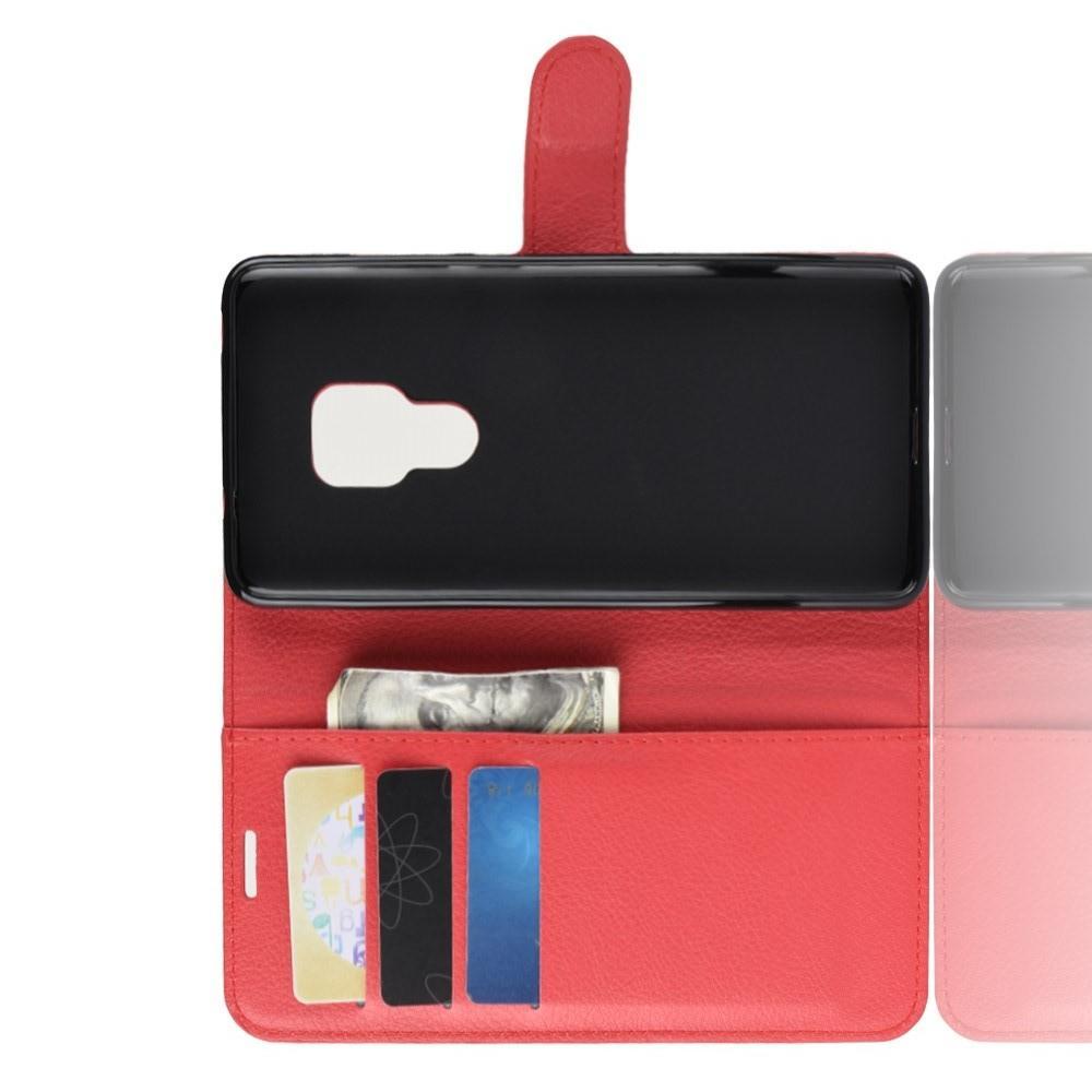Флип чехол книжка с кошельком подставкой отделениями для карт и магнитной застежкой для Huawei Mate 20 Красный