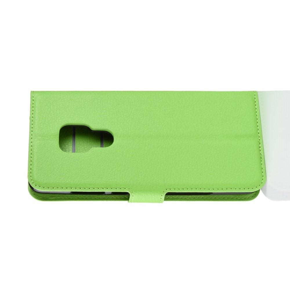 Флип чехол книжка с кошельком подставкой отделениями для карт и магнитной застежкой для Huawei Mate 20 Зеленый