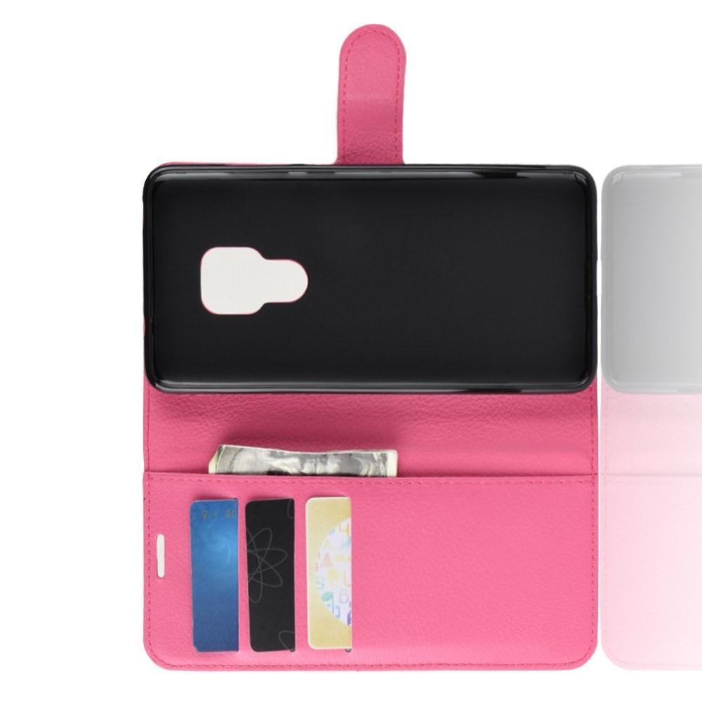 Флип чехол книжка с кошельком подставкой отделениями для карт и магнитной застежкой для Huawei Mate 20 Розовый
