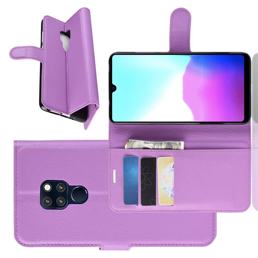 Флип чехол книжка с кошельком подставкой отделениями для карт и магнитной застежкой для Huawei Mate 20 Фиолетовый