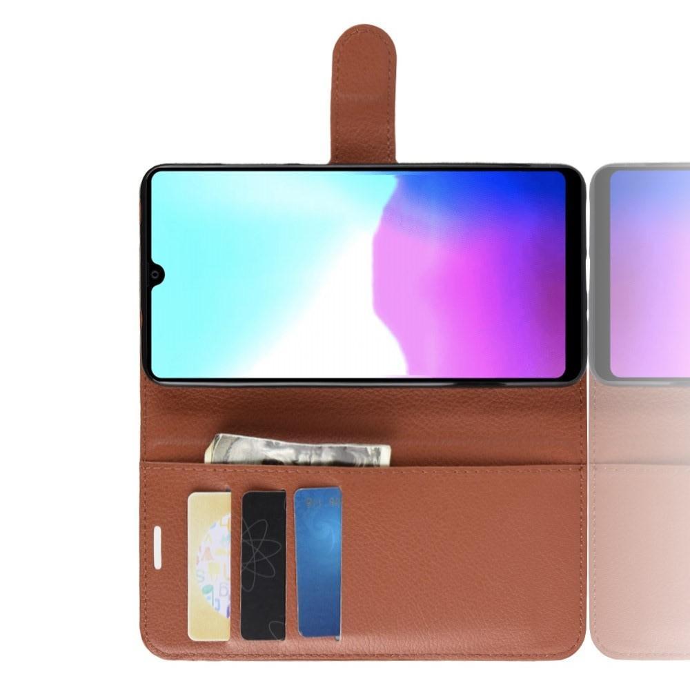 Флип чехол книжка с кошельком подставкой отделениями для карт и магнитной застежкой для Huawei Mate 20 Коричневый