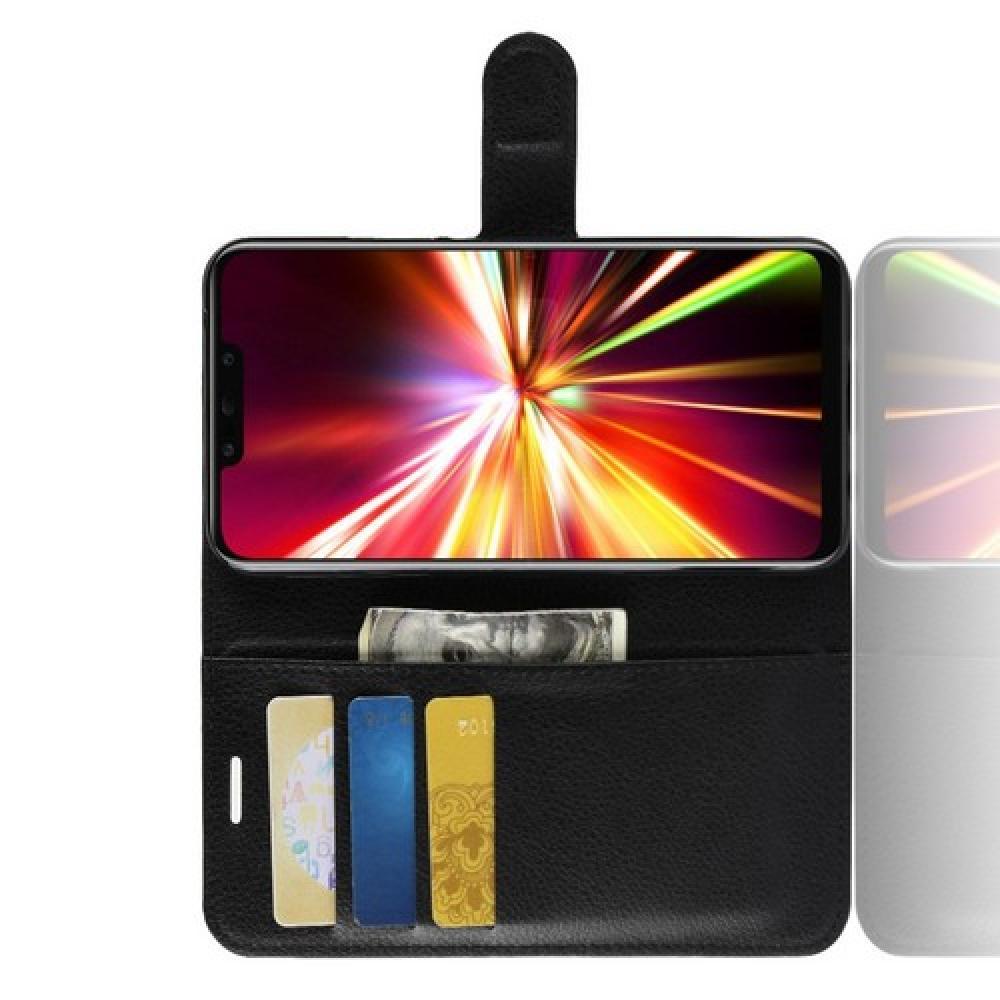Флип чехол книжка с кошельком подставкой отделениями для карт и магнитной застежкой для Huawei Mate 20 Lite Черный