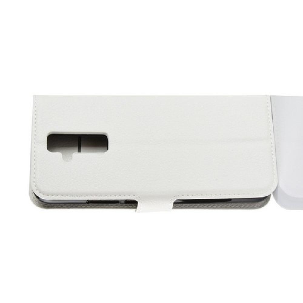Флип чехол книжка с кошельком подставкой отделениями для карт и магнитной застежкой для Huawei Mate 20 Lite Белый