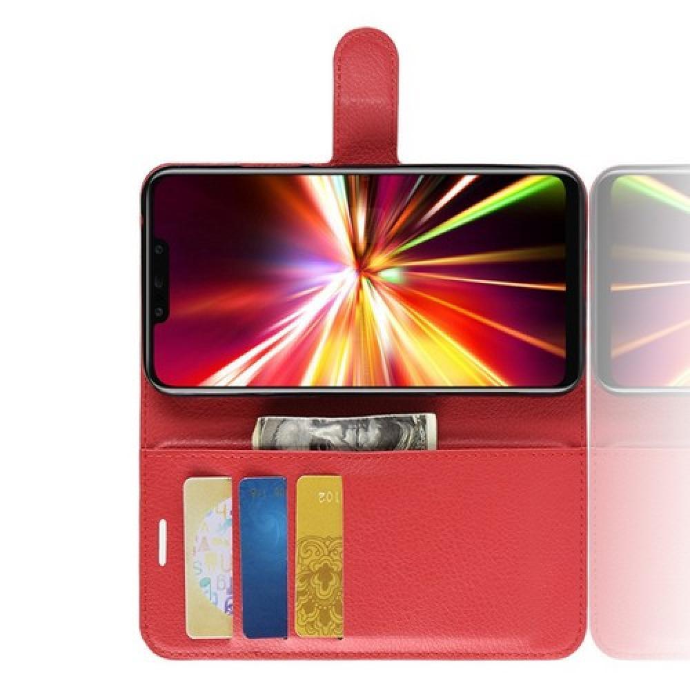 Флип чехол книжка с кошельком подставкой отделениями для карт и магнитной застежкой для Huawei Mate 20 Lite Красный