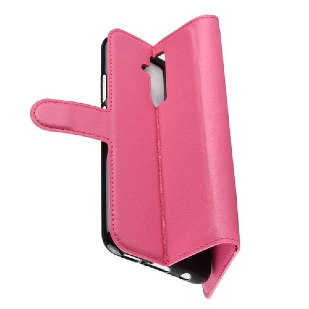 Флип чехол книжка с кошельком подставкой отделениями для карт и магнитной застежкой для Huawei Mate 20 Lite Розовый