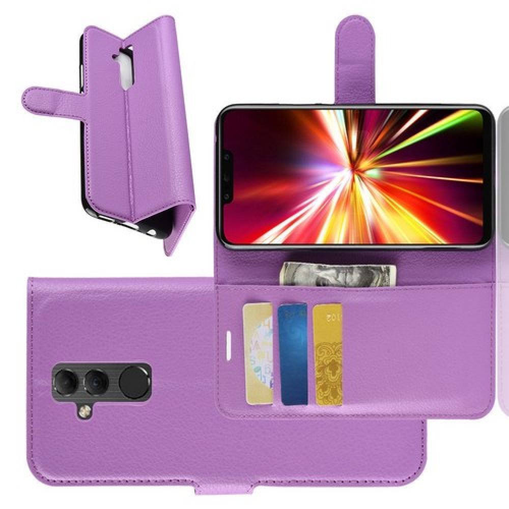Флип чехол книжка с кошельком подставкой отделениями для карт и магнитной застежкой для Huawei Mate 20 Lite Фиолетовый