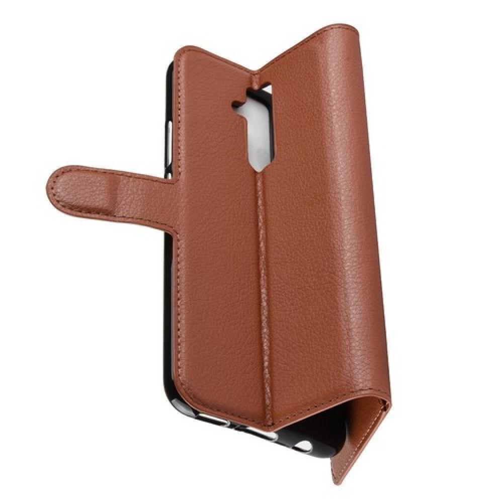 Флип чехол книжка с кошельком подставкой отделениями для карт и магнитной застежкой для Huawei Mate 20 Lite Коричневый