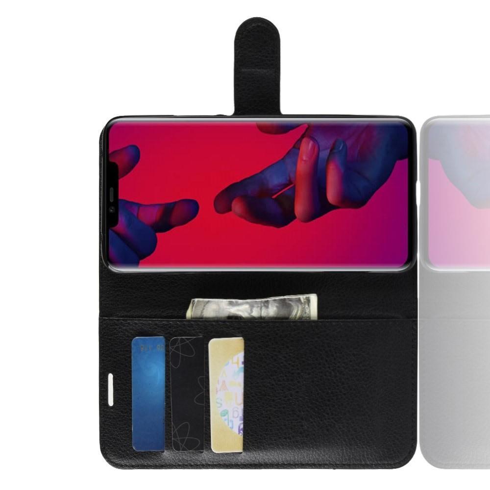 Флип чехол книжка с кошельком подставкой отделениями для карт и магнитной застежкой для Huawei Mate 20 Pro Черный