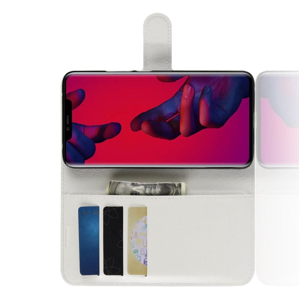Флип чехол книжка с кошельком подставкой отделениями для карт и магнитной застежкой для Huawei Mate 20 Pro Белый
