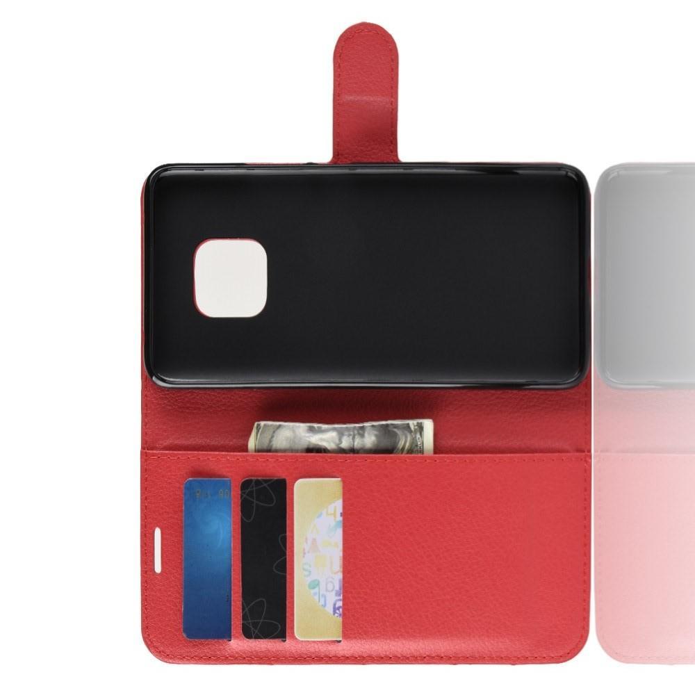 Флип чехол книжка с кошельком подставкой отделениями для карт и магнитной застежкой для Huawei Mate 20 Pro Красный