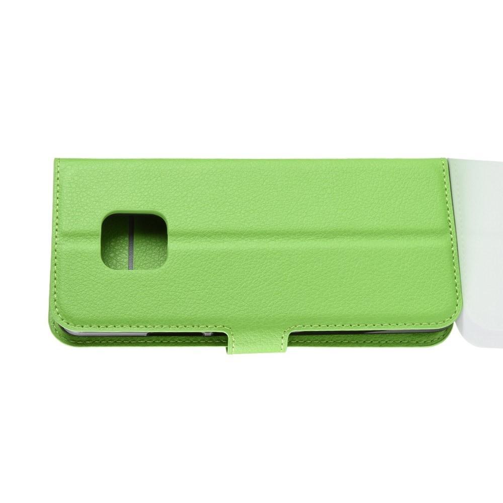 Флип чехол книжка с кошельком подставкой отделениями для карт и магнитной застежкой для Huawei Mate 20 Pro Зеленый