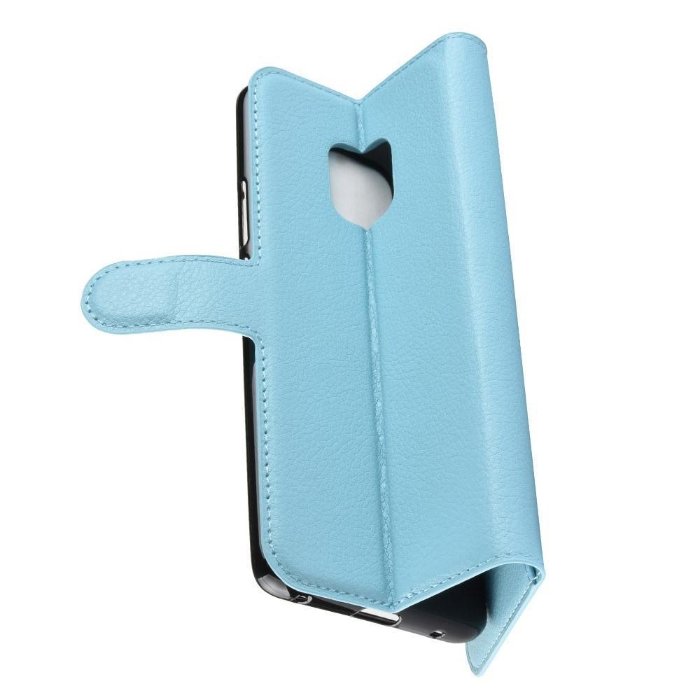 Флип чехол книжка с кошельком подставкой отделениями для карт и магнитной застежкой для Huawei Mate 20 Pro Голубой