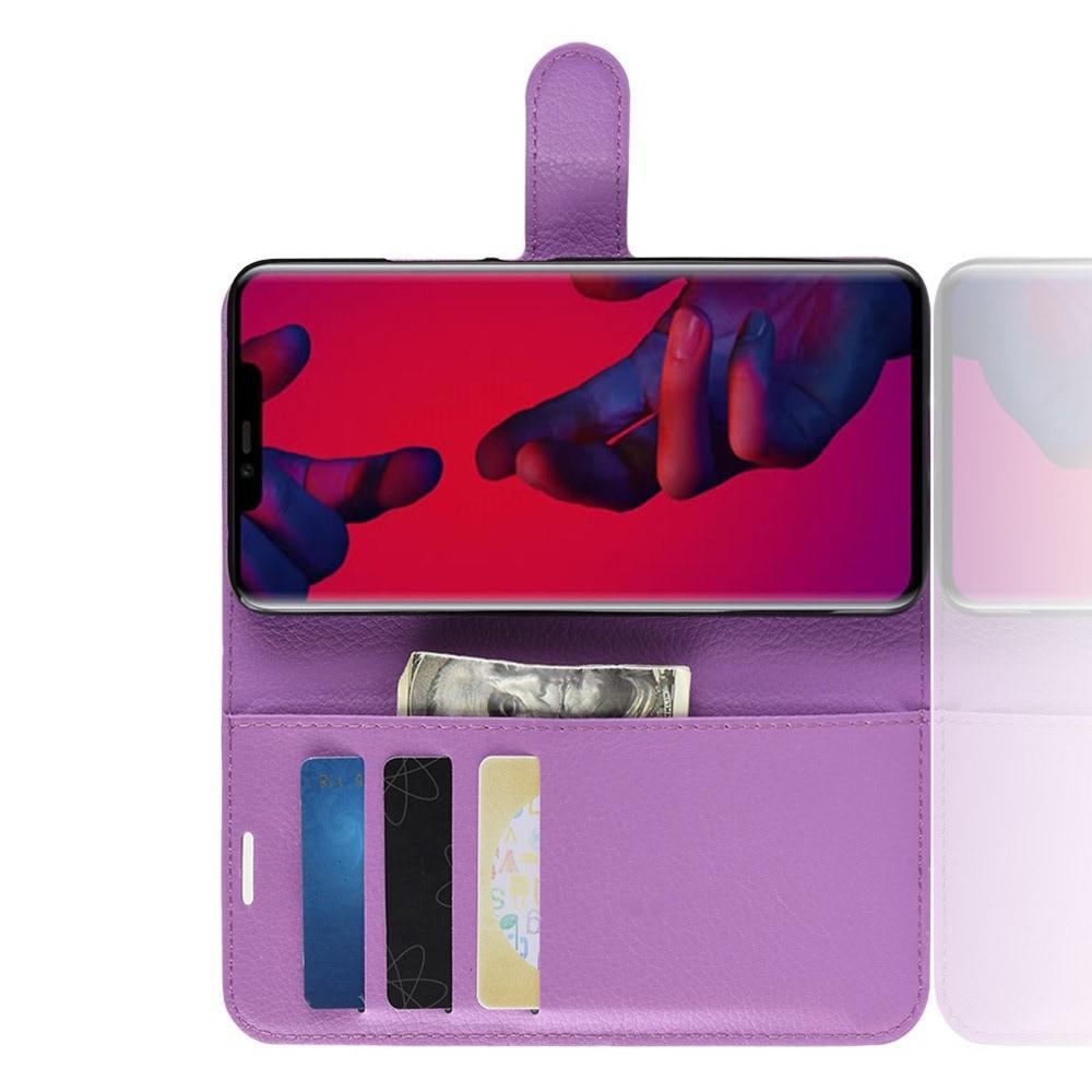 Флип чехол книжка с кошельком подставкой отделениями для карт и магнитной застежкой для Huawei Mate 20 Pro Фиолетовый