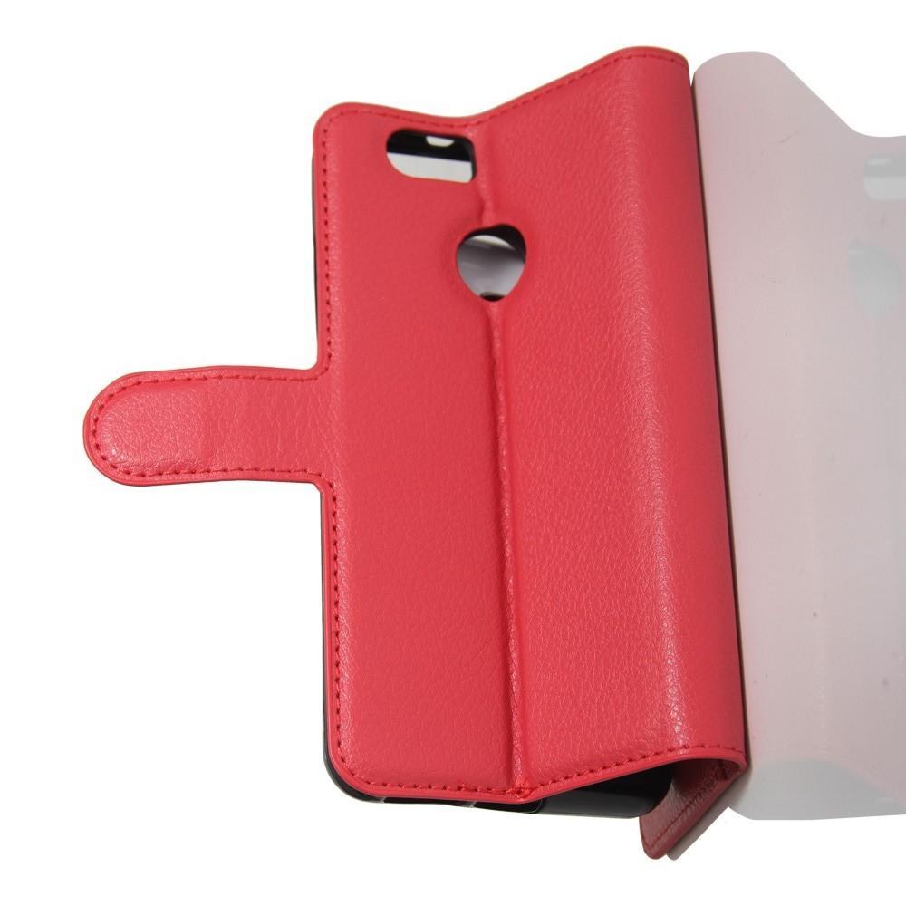 Флип чехол книжка с кошельком подставкой отделениями для карт и магнитной застежкой для Huawei Nova Красный
