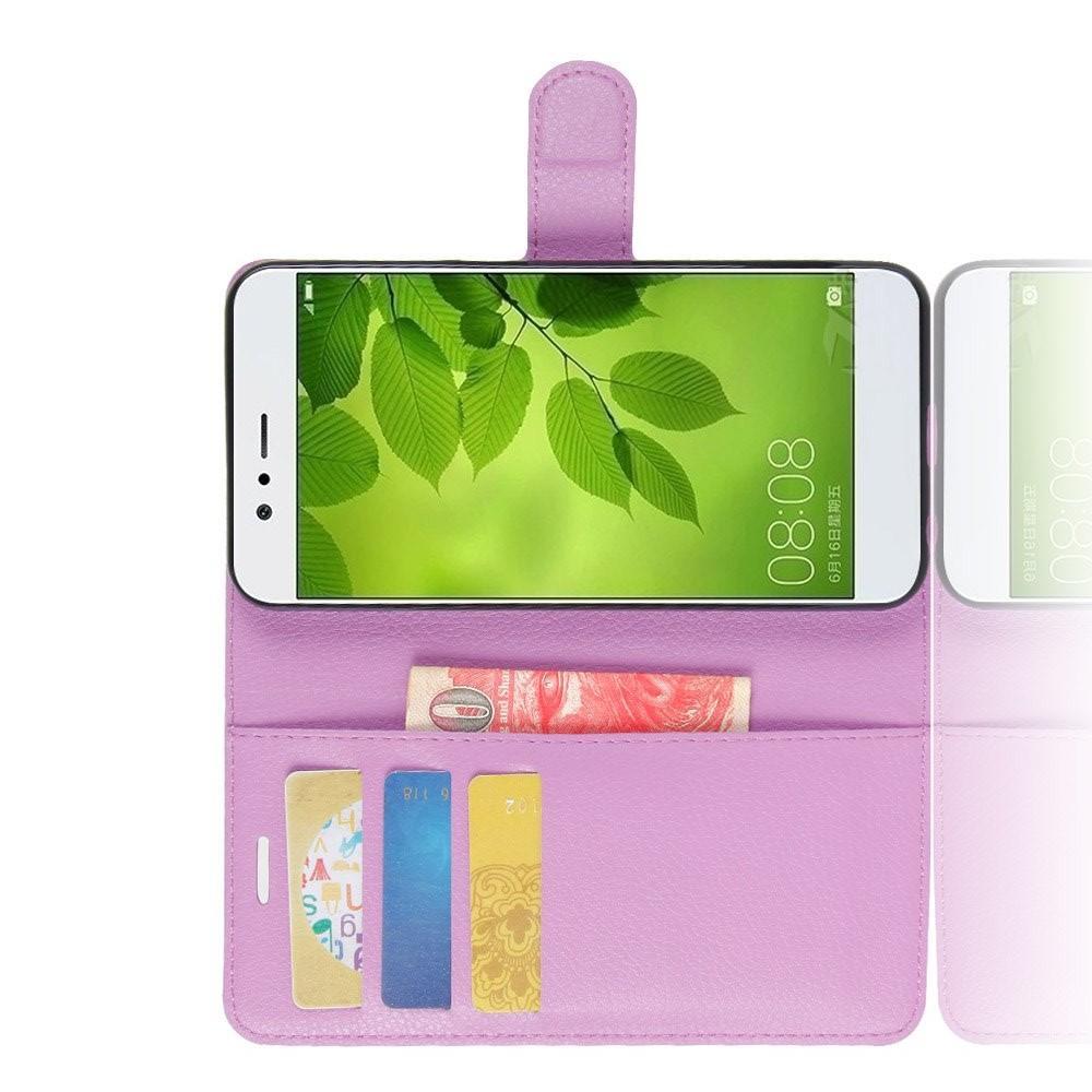 Флип чехол книжка с кошельком подставкой отделениями для карт и магнитной застежкой для Huawei Nova 2 Plus Фиолетовый