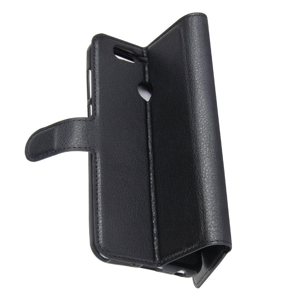 Флип чехол книжка с кошельком подставкой отделениями для карт и магнитной застежкой для Huawei Nova 2 Plus Черный