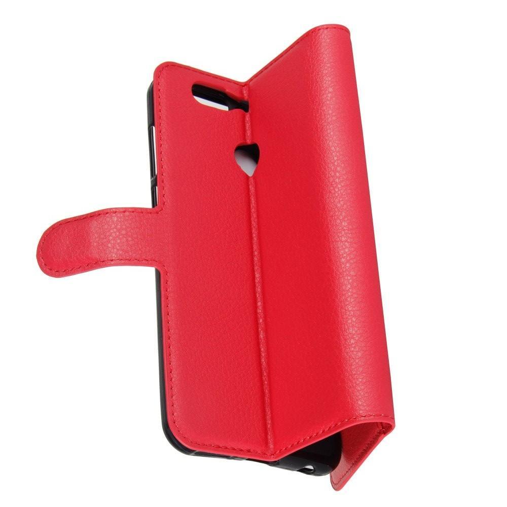Флип чехол книжка с кошельком подставкой отделениями для карт и магнитной застежкой для Huawei Nova 2 Plus Красный