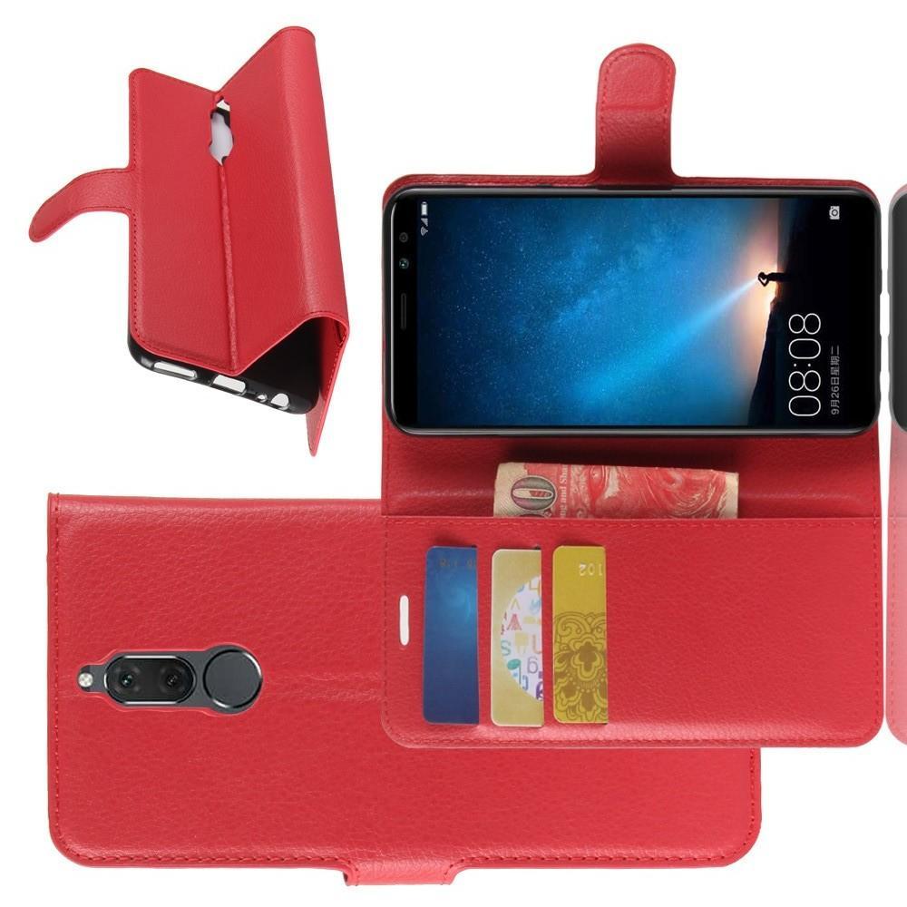 Флип чехол книжка с кошельком подставкой отделениями для карт и магнитной застежкой для Huawei Nova 2i / Mate 10 Lite Красный