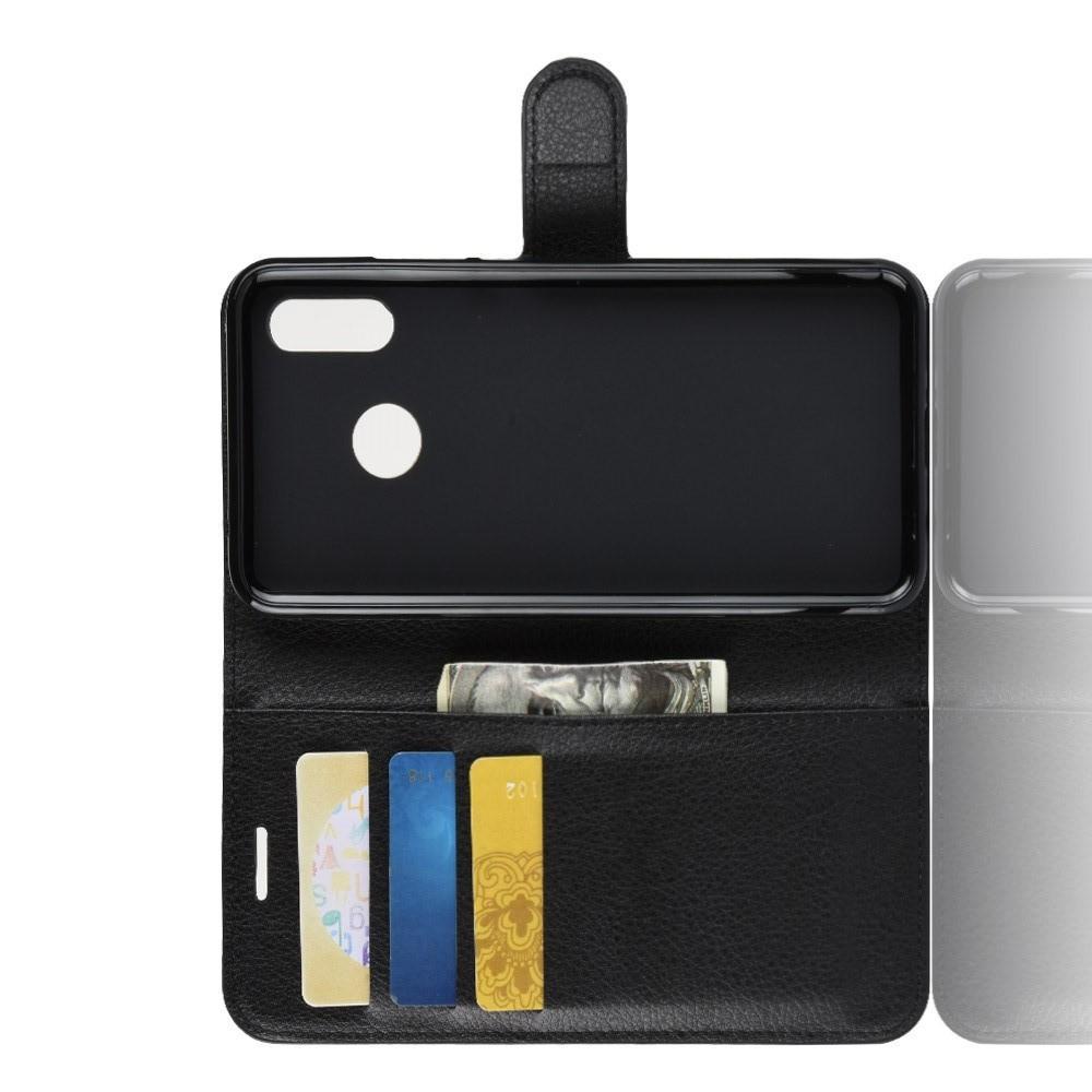 Флип чехол книжка с кошельком подставкой отделениями для карт и магнитной застежкой для Huawei nova 3 Черный