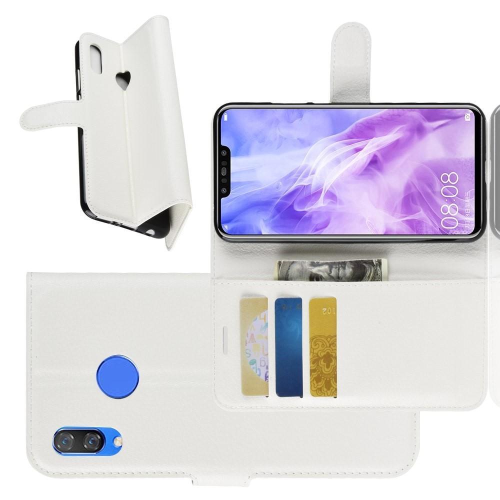 Флип чехол книжка с кошельком подставкой отделениями для карт и магнитной застежкой для Huawei nova 3 Белый