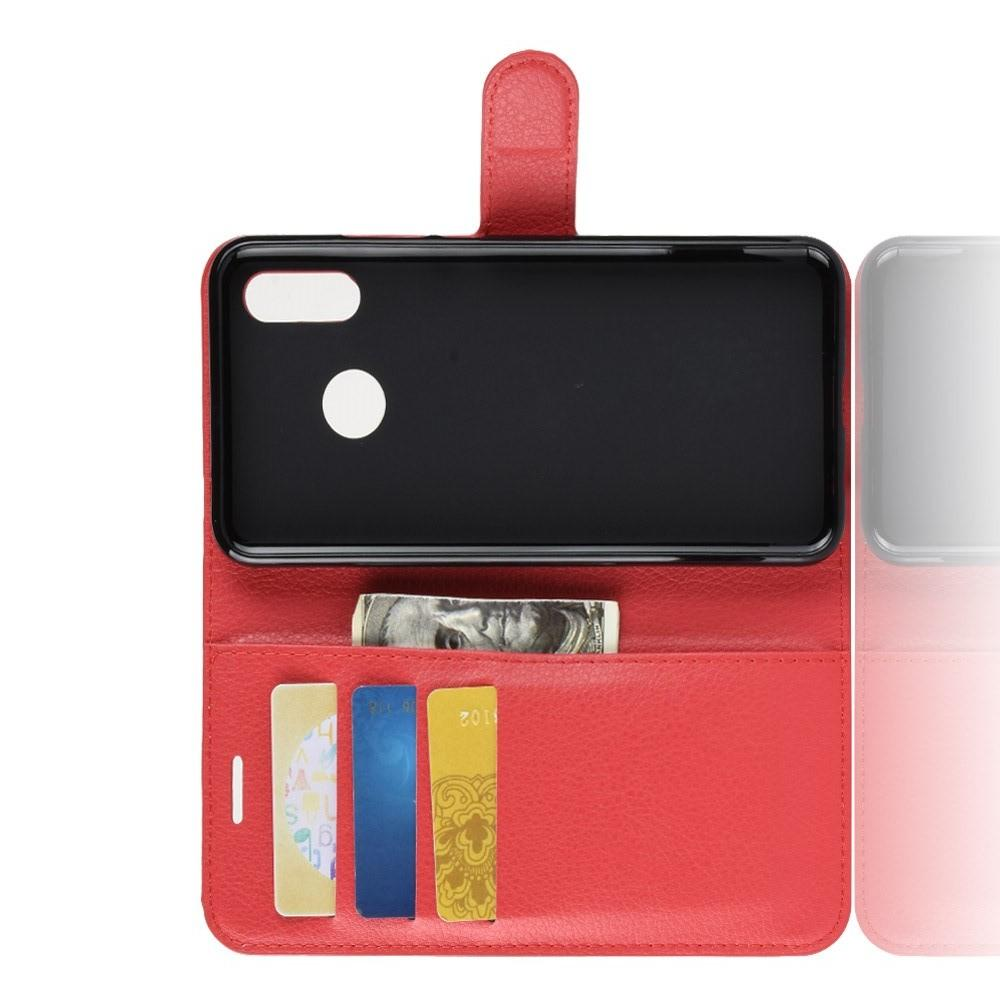 Флип чехол книжка с кошельком подставкой отделениями для карт и магнитной застежкой для Huawei nova 3 Красный