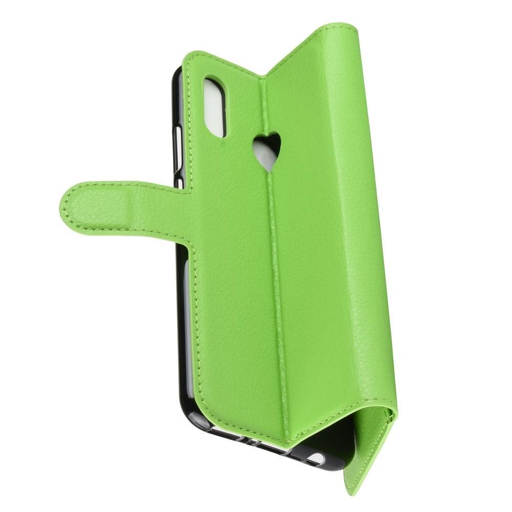 Флип чехол книжка с кошельком подставкой отделениями для карт и магнитной застежкой для Huawei nova 3 Зеленый