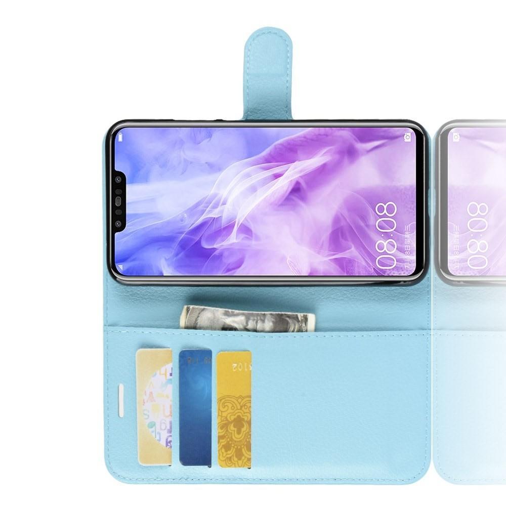 Флип чехол книжка с кошельком подставкой отделениями для карт и магнитной застежкой для Huawei nova 3 Голубой