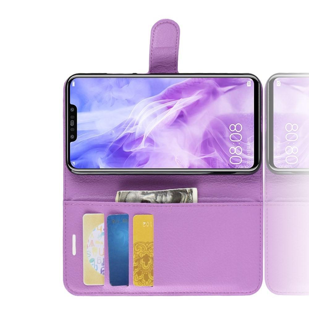 Флип чехол книжка с кошельком подставкой отделениями для карт и магнитной застежкой для Huawei nova 3 Фиолетовый