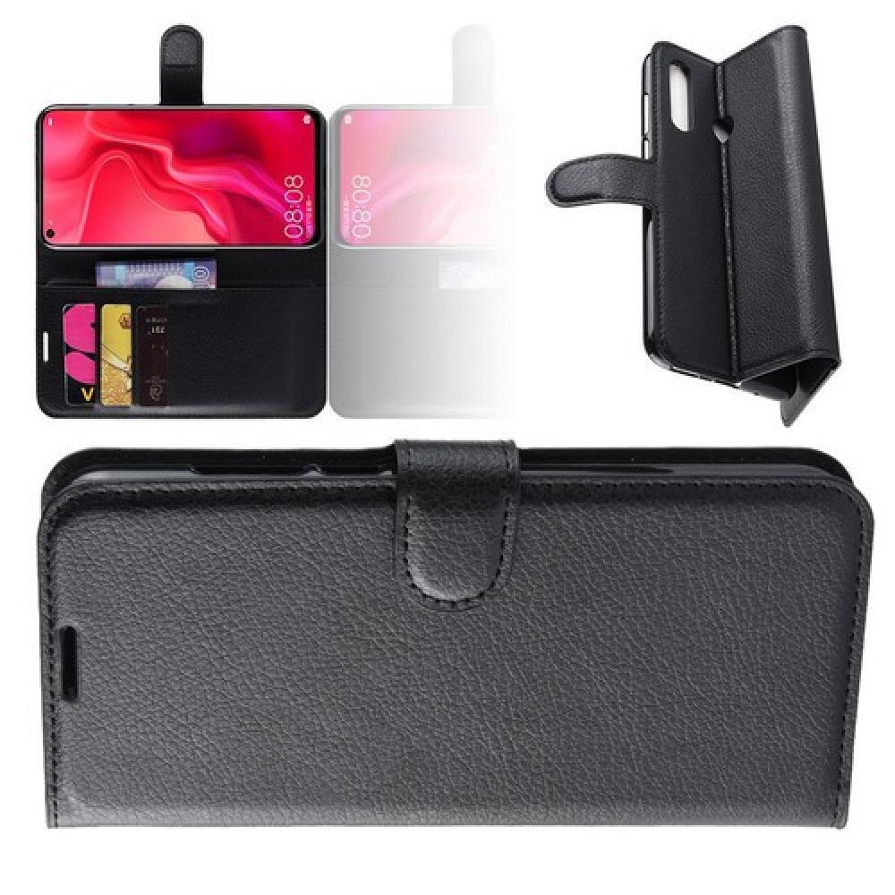 Флип чехол книжка с кошельком подставкой отделениями для карт и магнитной застежкой для Huawei Nova 4 Черный