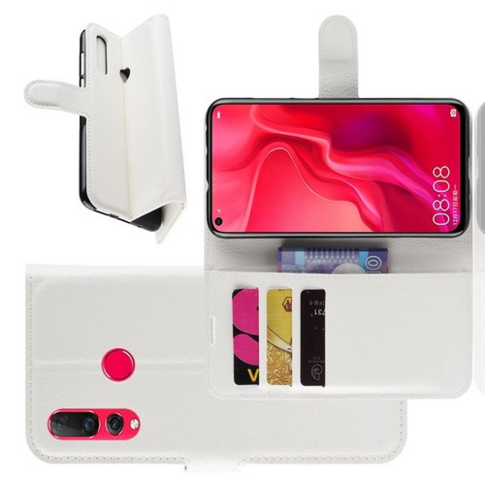 Флип чехол книжка с кошельком подставкой отделениями для карт и магнитной застежкой для Huawei Nova 4 Белый