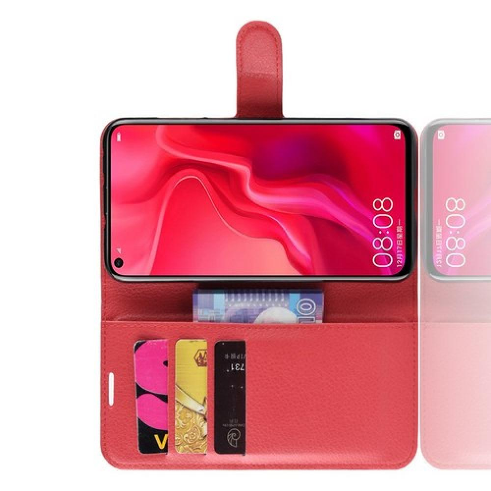 Флип чехол книжка с кошельком подставкой отделениями для карт и магнитной застежкой для Huawei Nova 4 Красный